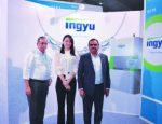 [L-R] Peter Dias, CEO, Unitech Metalforming Technologies Taiwan; Brenda Tung,  Sales Manager, Ingyu;  M. K. Narasinga Rao, MD, Magal Engineering. Picture: Meshmix Media