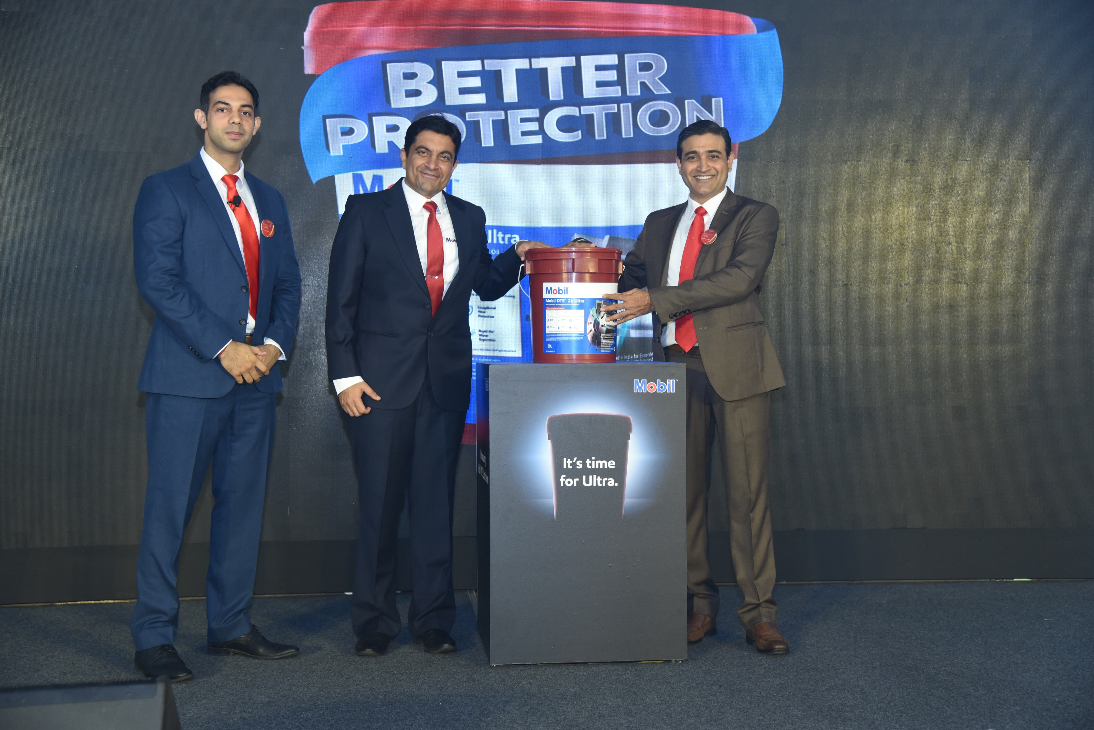 Sumit Rana, South AP Offer Development Manager, Ankush Khanna, South AP Commercial Brand Manager and Shankar Karnik, General Manager - Industrial Lubricants, during the launch of Mobil DTE™  20 Ultra Series – a technologically advanced series of hydraulic oils by ExxonMobil Lubricants Private Limited.