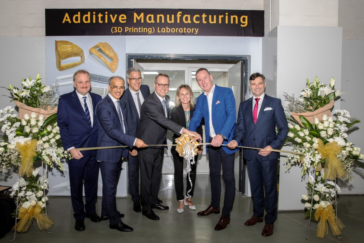 The official opening of Etihad Engineering's 3D printing lab was attended by the German Ambassador to the UAE and representatives from Etihad Engineering, EOS and Big Rep. (fltr): Bernhard Randerath, VP Design, Engineering & Innovation, Etihad Engineering, Abdul Khaliq Saeed, CEO Etihad Engineering, Markus Glasser, SVP EOS, H.E. Ernst Peter Fischer, German Ambassador to the UAE, Marie Langer, CEO EOS, Tony Douglas, Group CEO Etihad Aviation Group, Martin Black, CEO BigRep. (Source: Etihad Aviation Group)