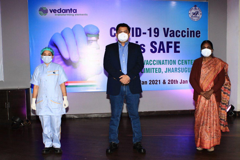 Mr. Rahul Sharma Dy. CEO - Aluminium (Centre), Vedanta's vaccinator (Left) and Dr. Suprava Barik, ADPHO, Jharsuguda (Right)
