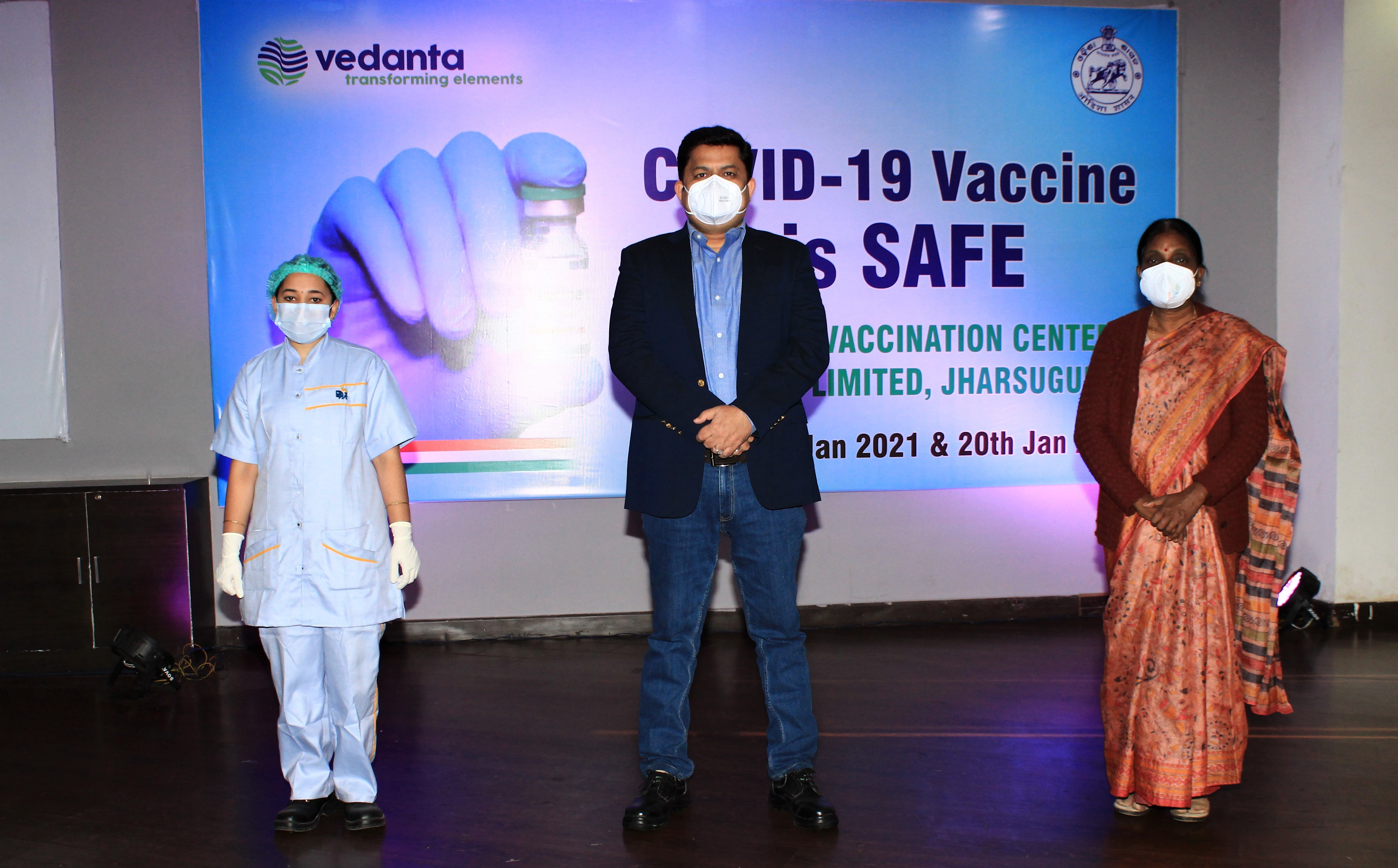 Mr. Rahul Sharma Dy. CEO - Aluminium (Centre), Vedanta's vaccinator (Left) and Dr. Suprava Barik, ADPHO, Jharsuguda (Right)